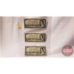 Canada $20 Bills 1954 DF (3): Beattie/Coyne CE5841659; CE7834584; DE2478833