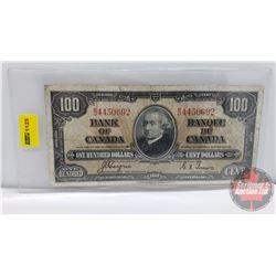 Canada $100 Bill 1937 Coyne/Towers BJ4450692