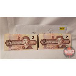Canada $2 Bills 1986 UNC Sequential (99) CBA0187401-499