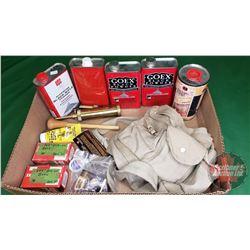 Tray Lot: Black Powder, Possibles Bag, Lead Balls, Percussion Caps, Bate Butter, Brass Powder Horn +