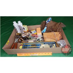 Tray Lot: Black Powder Supplies, Bullets 50cal, Cleaning Kit, Bullet Mould, Leather Bag, etc