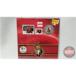RCM NHL Collector Coin & Stamp Set : Twenty Five Cent 2014 Ottawa Senators