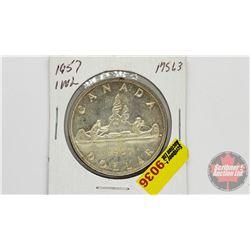 Canada Silver Dollar 1957 OWL