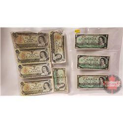 Canada $1 Bills - Variety Years (9) : 1967; 1954; 1973 (See Pics for Signatures & Serial Numbers) (N
