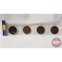 Strip of 4 Coins: 1874 One Penny; 1965 One Penny; 1927 One Penny; 1909 One Penny