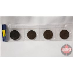 Strip of 4 Coins: 1891 One Penny; 1856B Empire Francis Dix Centimes; 1917 One Penny; 1914 One Penny;