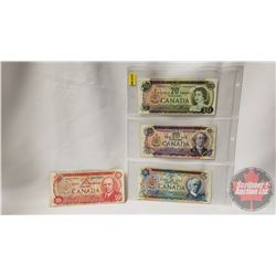 Canada Bills (4): 1972 $5; 1971 $10; 1969 $20; 1975 $50 (See Pics for Signatures & Serial Numbers)