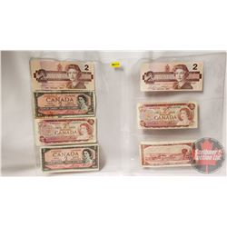 Canada $2 Bills (7) Variety Years : 1986; 1954; 1974; 1954; 1986; 1974; 1954 (See Pics for Signature