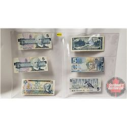 Canada $5 Bills (6) Variety Years : 2006; 1986; 1986; 1986; 1954; 1979 (See Pics for Signatures & Se