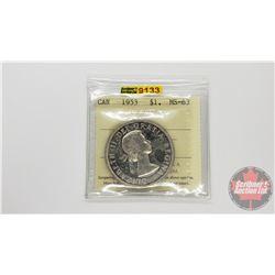 Canada Silver Dollar 1953 NSF (ICCS Cert: MS-63)