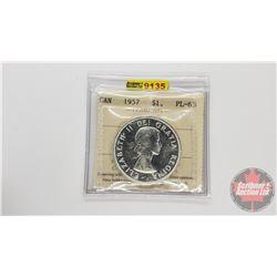 Canada Silver Dollar 1957 (ICCS Cert: PL-63)