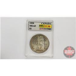 Canada Silver Dollar 1958 (ACG Cert: MS-63)