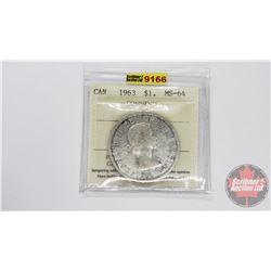 Canada Silver Dollar 1963 (ICCS Cert: MS-64)