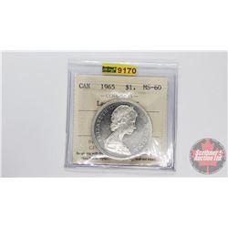 Canada Silver Dollar 1965 LgeBds Blt 5 (ICCS Cert: MS-60)