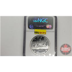 Canada Silver Dollar 1965 Small Beads Pointed 5 (NGC Cert: PL-65)