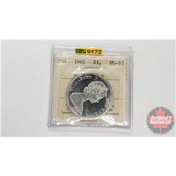 Canada Silver Dollar 1965 SmBds Ptd 5 (ICCS Cert: PL-63)