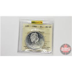Canada Silver Dollar 1966 Large Beads (ICCS Cert: MS-60)