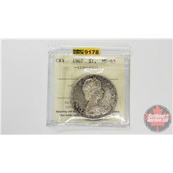 Canada Silver Dollar 1967 (ICCS Cert: MS-63)