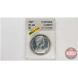 Canada Silver Dollar 1967 Cameo (ACG Cert: PL-66)