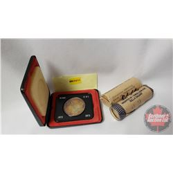 1973 Grouping: RCMP Dollar Black Case & Twenty Five Cent ROLL & Five Cent Roll (1965-1973) (NOTE: Ro