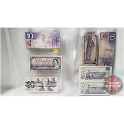 Canada $10 Bills (7) Variety Years : 2005; 1954; 1989; 2001; 1954; 1971; 1971 (See Pics for Signatur
