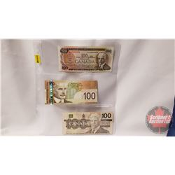 Canada $100 Bills (3): 1975; 2004; 1988 (See Pics for Signatures & Serial Numbers)