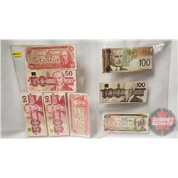 Canada Bills (8): 1975 $50; 1988 $50; 1988 $50; 1988 $50; 1975 $50; 2004 $100; 1988 $100; 1975 $100