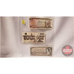 Canada $100 Bills (3): 1975; 1988; 1954 (See Pics for Signatures & Serial Numbers)