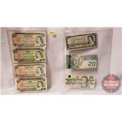 Canada $20 Bills (7): 1979; 1969; 1979; 1969; 1954; 2004; 1991 (See Pics for Signatures & Serial Num