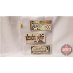 Canada $100 Bills (3): 2004; 1988; 1954 (See Pics for Signatures & Serial Numbers)