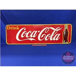 "Coca-Cola Sign ""Drink Coca-Cola"" Single Sided Tin (Bottle) Made in Canada 1949  (17"" x 57"")"