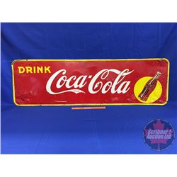 "Coca-Cola Sign ""Drink Coca-Cola"" Single Sided Tin (Bottle / Yellow Dot) Made in Canada 1942 by Thoma"