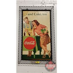 "Coca-Cola Cardboard Advertising in Metal Frame (30"" x 18"")"
