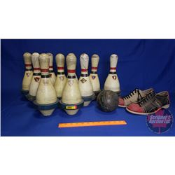 Vintage Bowling Pins (10) & Size 13 Men's Bowling Shoes & 5 Pin Bowling Ball