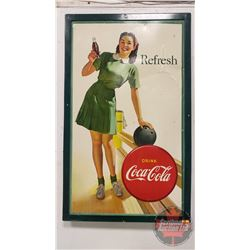 "Coca-Cola Advertising Sign - Cardboard in Wood Frame ""Refresh"" Litho Lady Bowling"