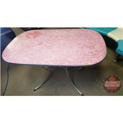 "Chrome / Pink Cracked Ice Table (30"" x 48"" x 30"") Claw Foot"