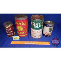 Baking Powder Tins (4): Nabob, Shield, Gold Standard, Magic