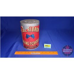 "Blue Ribbon Baking Powder Tin (Paper Label) (8-1/2"" x 5-1/2"")"