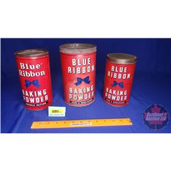 "Blue Ribbon Baking Powder Tins (3) (Tallest 9""H)"