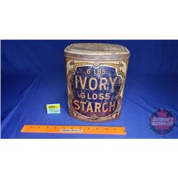 "The St. Lawrence Starch Co. Tin ""6lbs Ivory Gloss Starch - Diamond Jubilee Package 1897""  (9""H)"