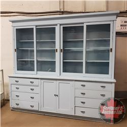 Large General Store Storage / Display Cabinet (Two Piece) Painted - Glass Front Sliding Doors ..