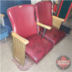 Theatre Seats (Bank of 2) Curved Wood Panel Backs - Cast Corrugated Sides (Embossed: Interior Hardwo