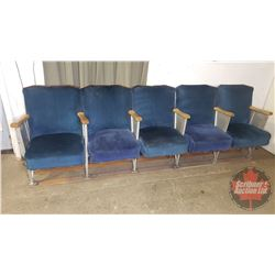 "Theatre Seats (Bank of 5) Curved Wood Panel Backs - Cast Sides - Blue Velvet (Total: 100""W x 32""H x"
