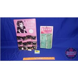 "Store Display Cards (2) ""Adorn Rain Bonnet"" & ""Vogue Safety Pins"""