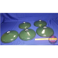 "Green Enamel Light Shades (5) (12"" Dia)"
