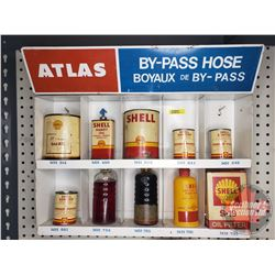 "ATLAS Metal Store Display (16""H x 19""W x 4""D) with Variety of Shell products (11) (See Pics)"
