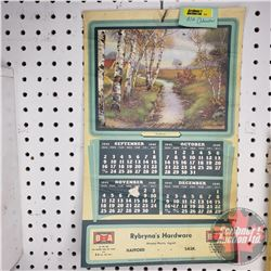 "B-A Calendar ""Rybryna's Hardware"" (May - Dec 1945) (16""H x 10""W)"