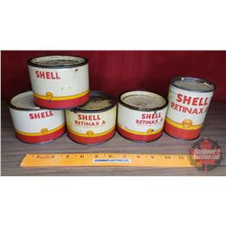 "Shell Grease Tin Combo (5pc) (All Partial Full) (4 Tins = 3""H) (1 Tin = 4-1/2""H)"