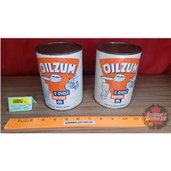 "Oilzum Motor Oil Cardboard Tins (2) (Both Full) (5-1/2""H x 4""Dia)"