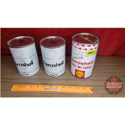 "Shell Tins (3): ""Aeroshell Oil W-100"" & ""Aeroshell Oil W"" (2 Full: 5-3/4""H x 4""Dia) (1 Empty: 6-1/2"""